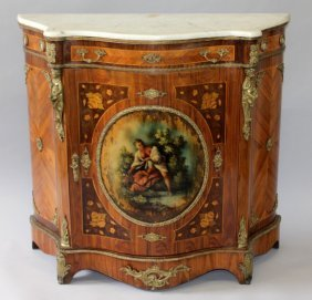 14. A French Design Marble, Kingwood, Inlaid And