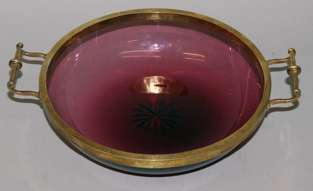 78.  A VICTORIAN RUBY GLASS CIRCULAR BOWL with heavy