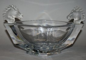 79. A Sevres Crystal Diamond Shaped Bowl With Frosted