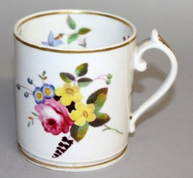 96. A Chamberlain Worcester Mug Painted With Flowers.