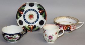 102. A Worcester Fan Pattern Saucer, A Floral Coffee
