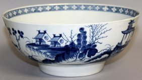 108. A Worcester Punch Bowl Painted With Chinese