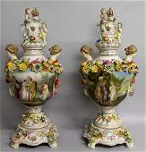 136  A GOOD PAIR OF DRESDEN VASES COVERS AND