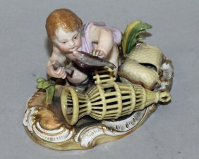 147. A Small 19th Century Meissen Group, A Young Cupid