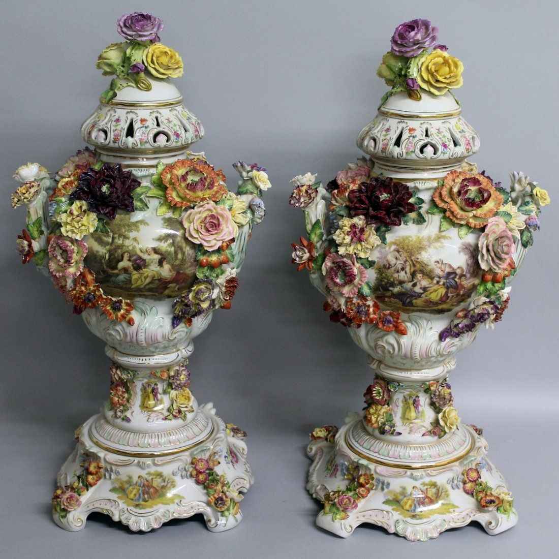 149.  A SUPERB LARGE PAIR OF DRESDEN TWO HANDLED URN
