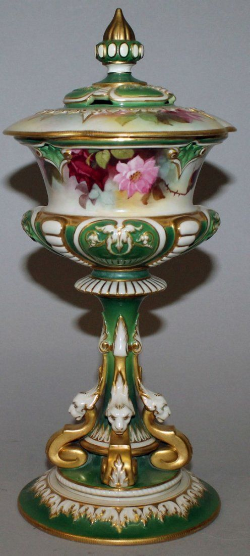 159.  A ROYAL WORCESTER CHALICE AND COVER, painted with