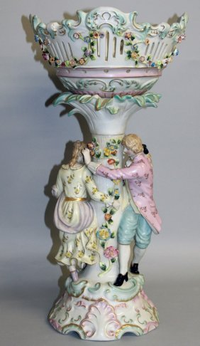 """168. A Large """"dresden"""" Porcelain Comport, Painted And"""