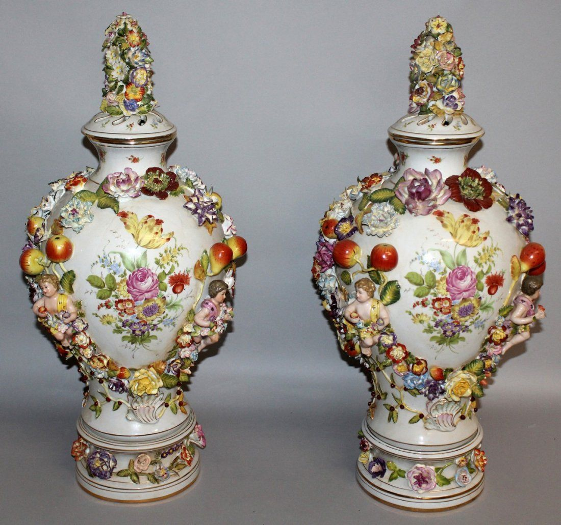 """184.  A GOOD PAIR OF """"DRESDEN"""" VASES, COVERS AND"""