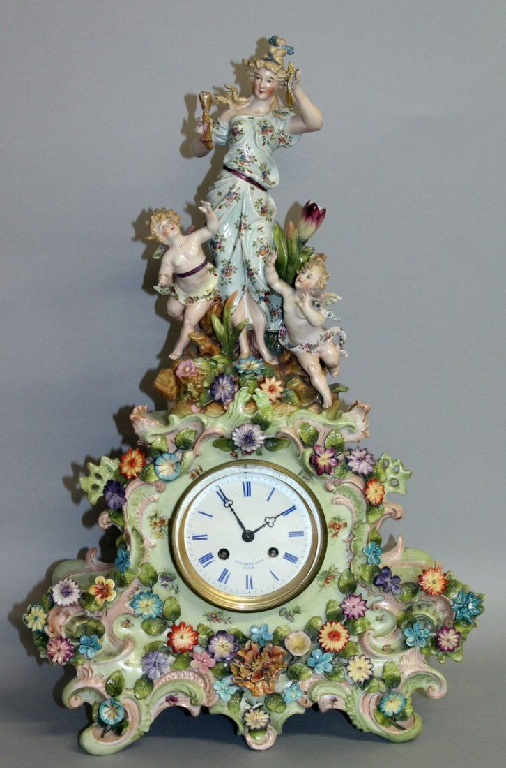 292.  A LATE 19TH CENTURY FRENCH PORCELAIN CLOCK by F.