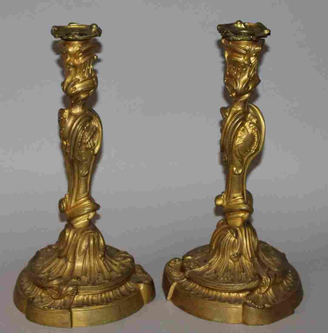 362.  A GOOD PAIR OF LOUIS XVI ORMOLU CANDLESTICKS with