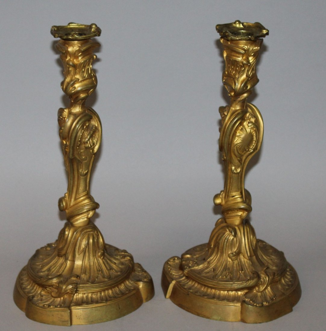 362.  A GOOD PAIR OF LOUIS XVI ORMOLU CANDLESTICKS with