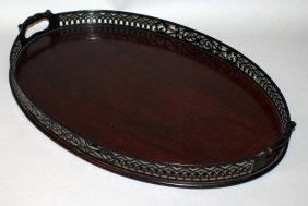 372. A Good Georgian Design Oval Two Handled Tea Tray