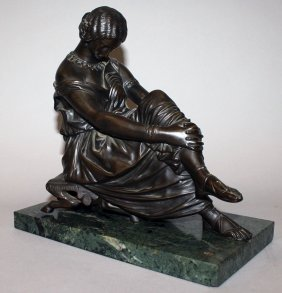 387. A 19th Century Bronze Seated Classical Lady On A
