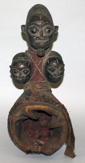 390. A Good 19th Century Tribal Carved Wood, Rope And