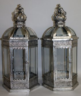 396. A Good Pair Of Silvered Metal Octagonal Lanterns