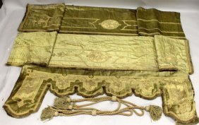 456. A Gold Thread Embroidered Pelmet, With A Pair Of