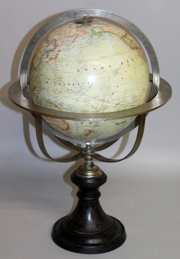 468.  A 19TH CENTURY FRENCH 9-INCH TERRESTRIAL GLOBE by