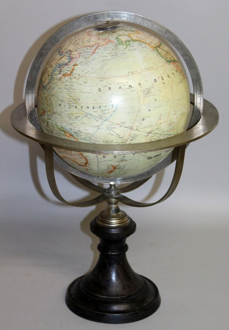 468.  A 19TH CENTURY FRENCH 9-INCH TERRESTRIAL GLOBE by