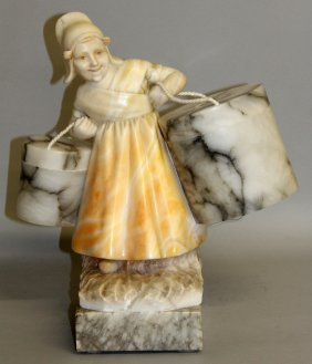 475.a Good 1920's Alabaster Lamp Formed As A Dutch Girl