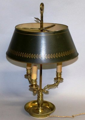 478. A 19th Century Students Brass And Toleware Lamp