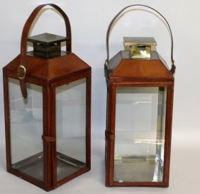 508. A Pair Of Square Glass Sided Lanterns With
