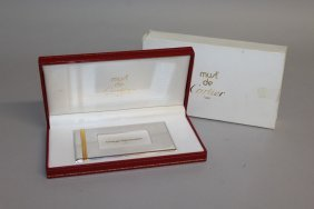 608. A Cartier Silver And Gold Visiting Card Case, In