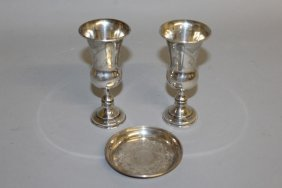 611. A Pair Of Jewish Urn Shaped Beakers And One