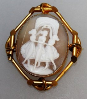 "652. A Victorian Cameo Brooch, ""the Three Muses""."