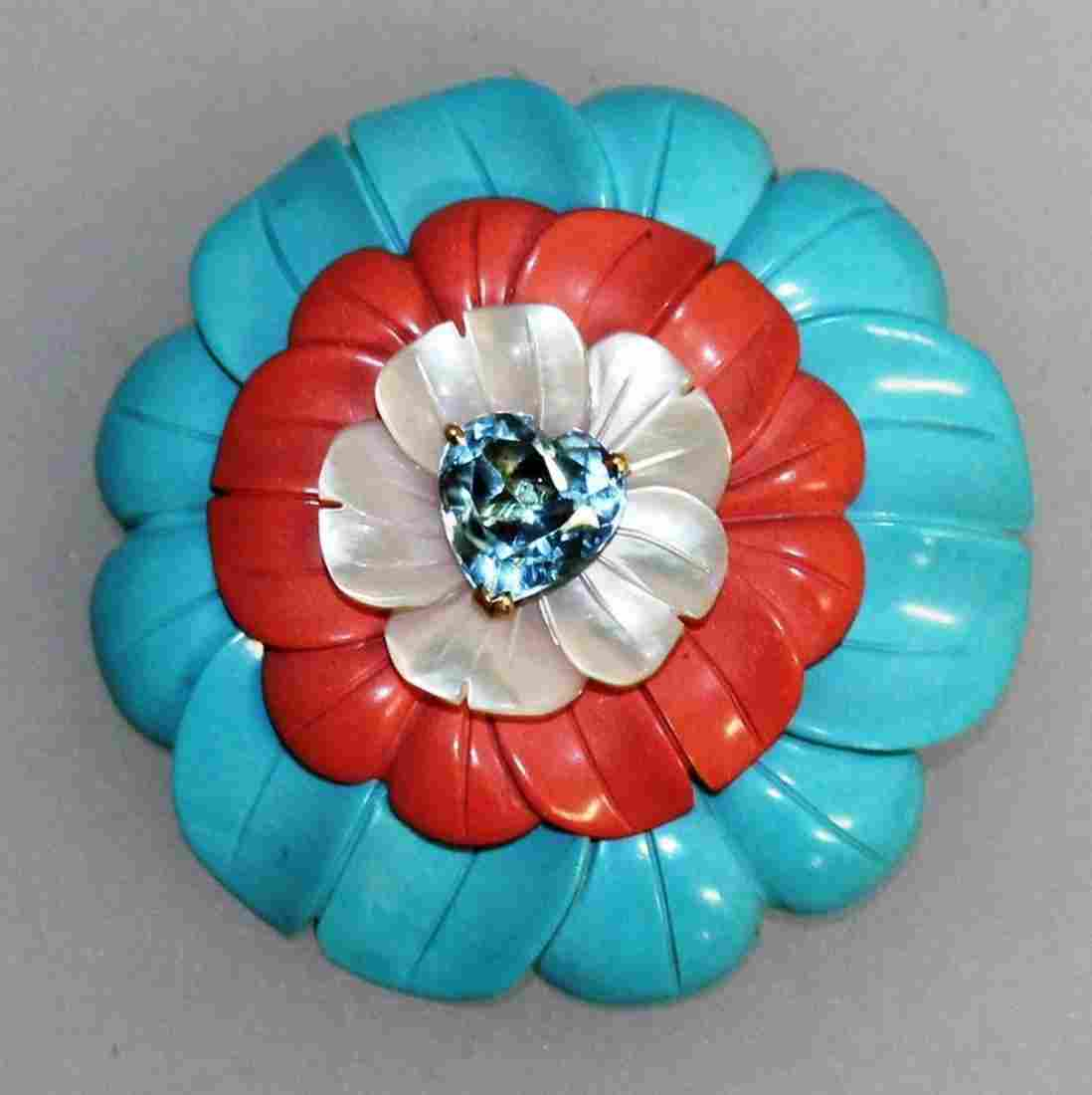 653.  A GOOD CAPELLO TURQUOISE, CORAL, MOTHER-OF-PEARL