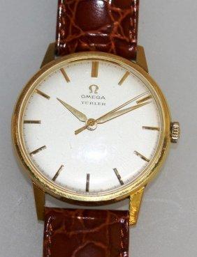 """655. A Gentleman's 18ct Gold Omega """"turler"""" Wristwatch"""