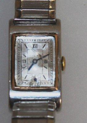 658. A 1930's Steel Omega Wristwatch.