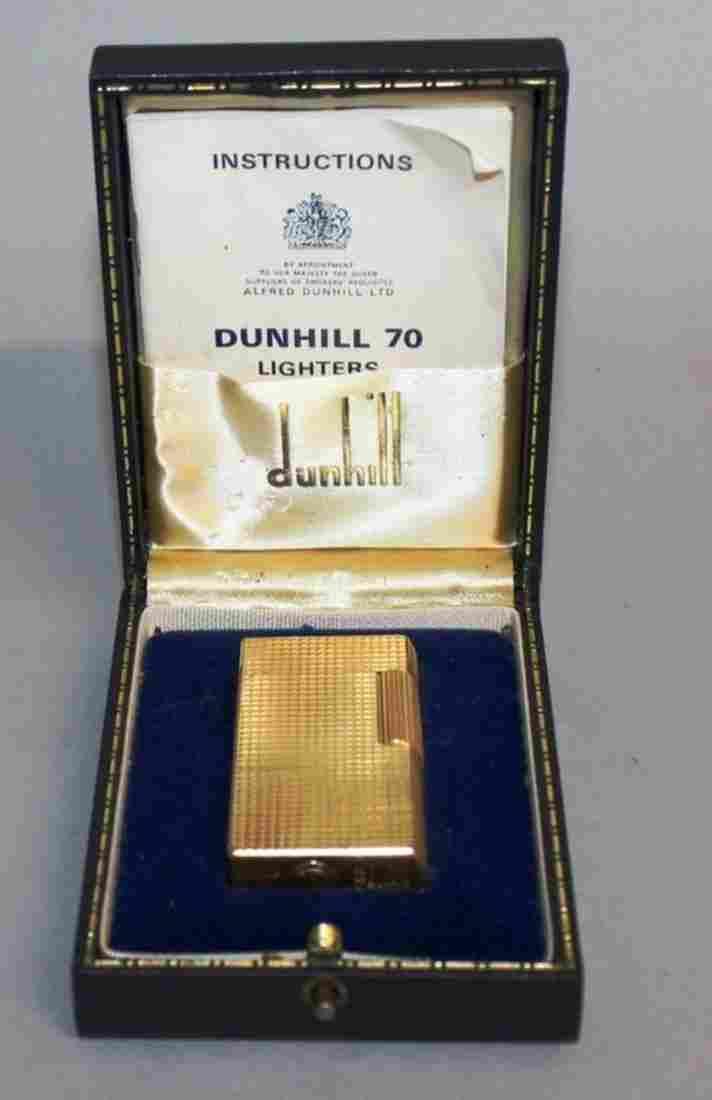 659.  A DUNHILL 70 GOLD COLOURED GAS LIGHTER, No.
