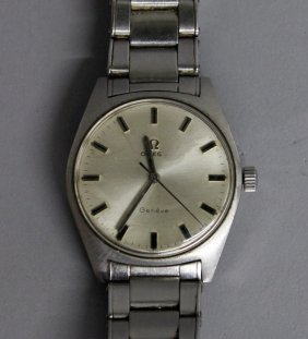 714. A Good Steel Omega Wristwatch With Papers.