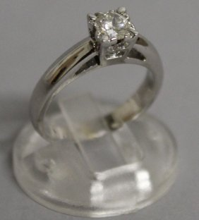 750. A Good Solitaire Diamond Ring In White Gold.