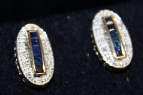780. A Pair Of 9k Gold Sapphire And Diamond Oval Deco