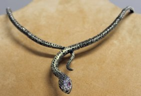 795. A Silver Marcasite Snake Necklace.