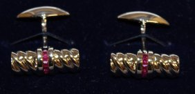 849. A Pair Of Fine Ruby And Sterling Silver