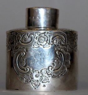 929. An Oval Tea Caddy And Cover With Repousse