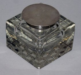 932. A Heavy Cut Glass Square Inkstand With Plain