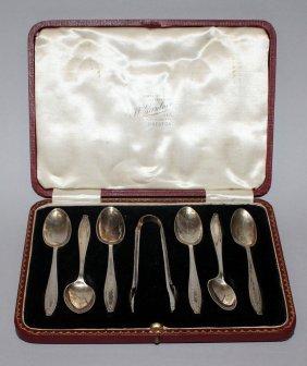 938. A Set Of Six Teaspoons And Pair Of Sugar Tongs,