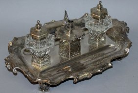 944. A Superb Victorian Engraved Table Inkstand By The