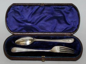 947. A Victorian Christening Spoon And Fork With Bead