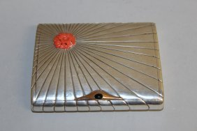 983. A Good Silver Cigarette Case With Coral And
