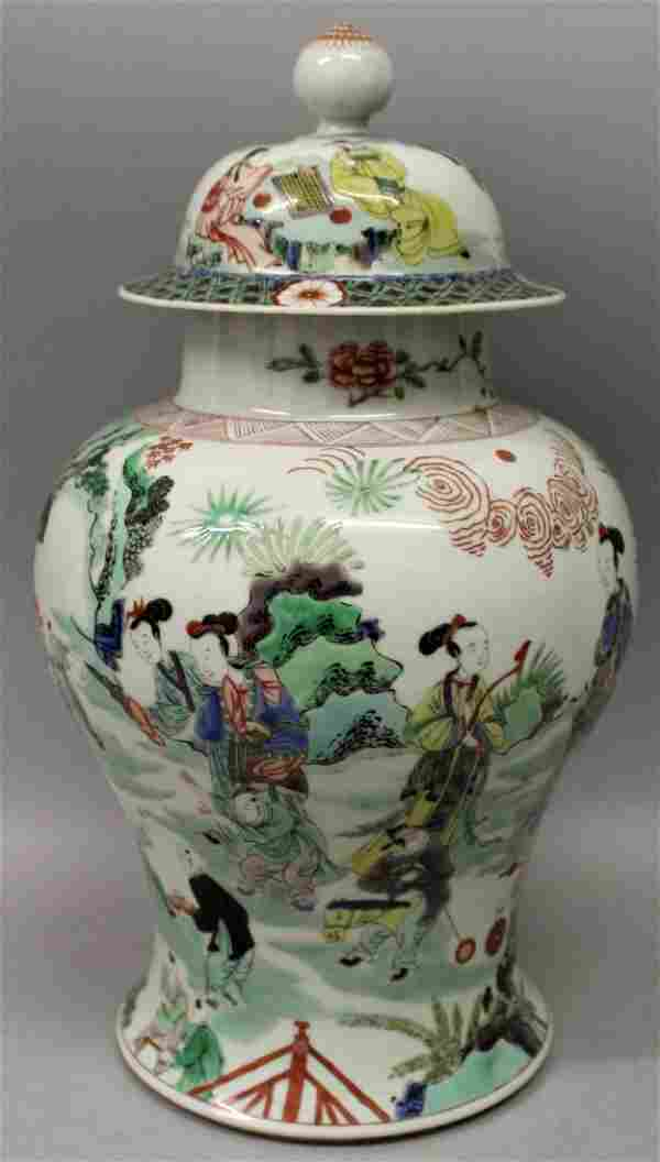 A LARGE GOOD QUALITY CHINESE FAMILLE VERTE PORCELAIN
