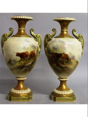 A SUPERB PAIR OF ROYAL WORCESTER URN SHAPED TWO HANDLED