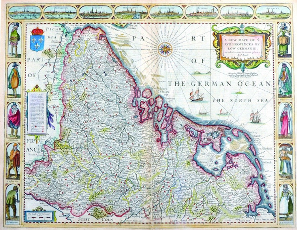 "John Speede (1552-1629) British. ""A New Map of ye XV11"