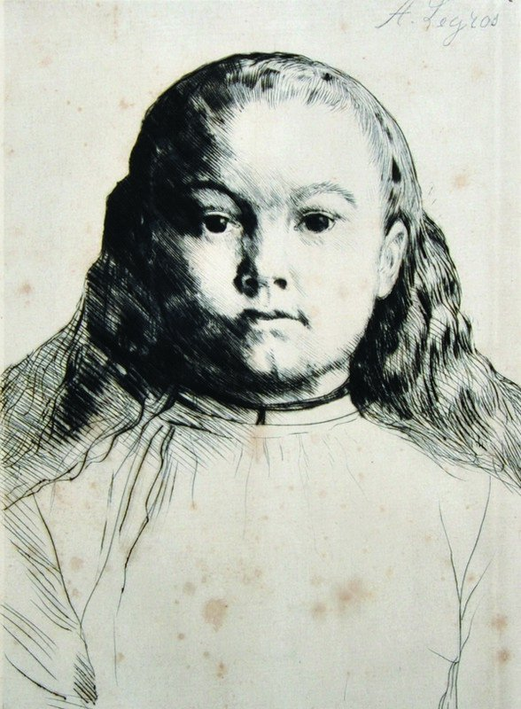 Alphonse Legros (1837-1911) French. Head of a Girl,