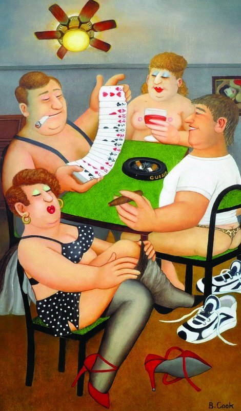 "Beryl Cook (1926-2008) British. ""Strip Poker"","