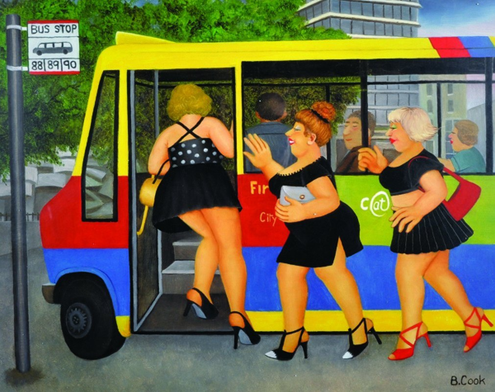 "Beryl Cook (1926-2008) British. ""Bus Stop"", Lithograph,"