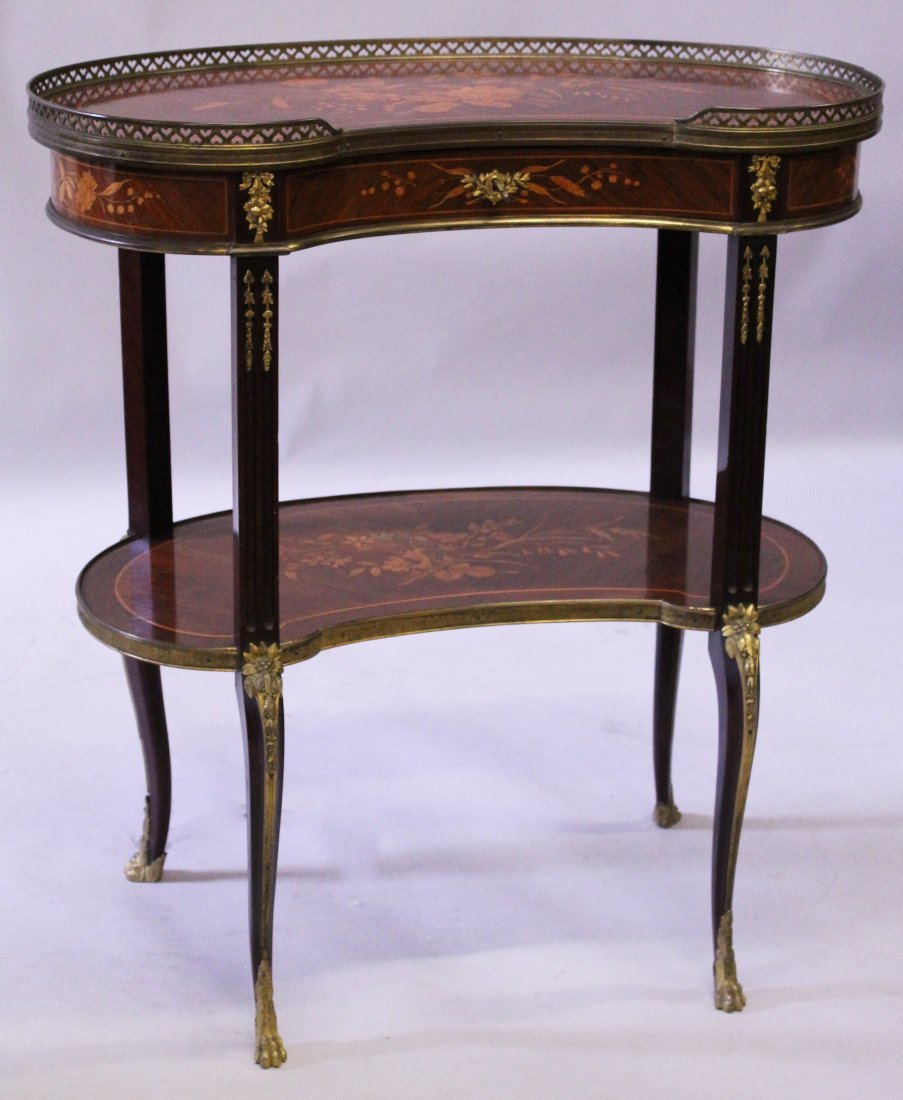A GOOD 19TH CENTURY MAHOGANY INLAID TWO TIER KIDNEY
